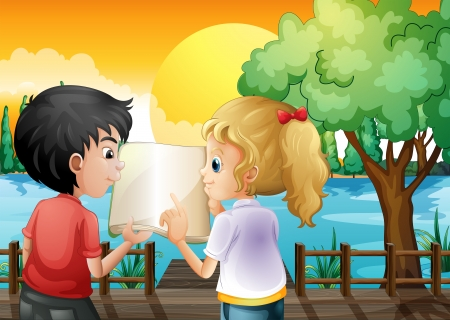 discussing: Illustration of a girl and a boy discussing at the wooden bridge