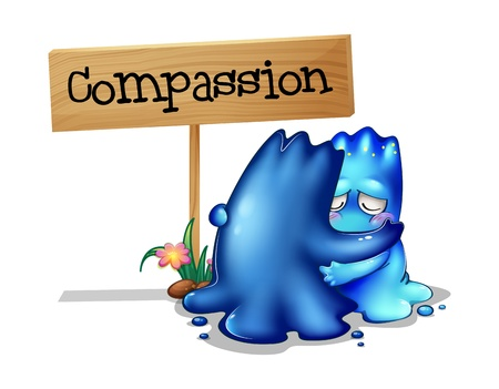 Illustration of the two compassionate monsters on a white background Vector