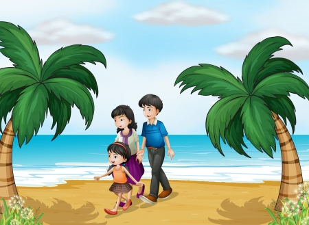 Illustration of a family walking at the beach Vector