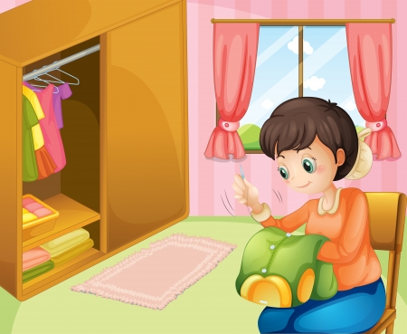 Illustration of a mother sewing near the cabinet Vector