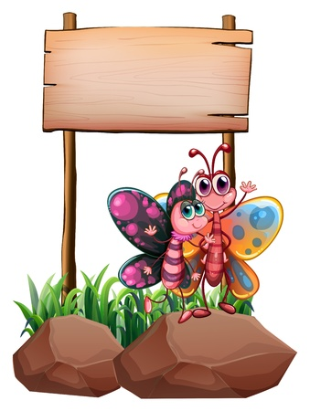 Illustration of the two butterflies above the rock near the empty signboard on a white background Vector
