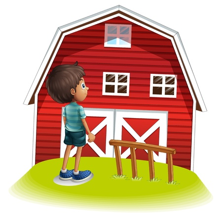 viewing angle: Illustration of a boy standing in front of the red farmhouse on a white background