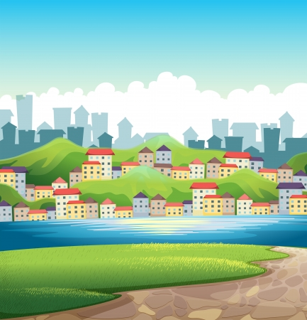 Illustration of a river near the tall buildings Vector