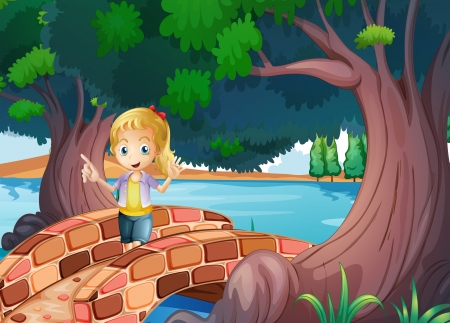 deep roots: Illustration of a girl at the bridge near the giant trees