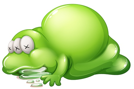 salivating: Illustration of a dead greenslime monster on a white background