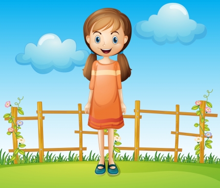 Illustration of a little woman standing near the wooden fence Vector