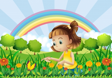 Illustration of a girl at the garden with a rainbow at the back Vector
