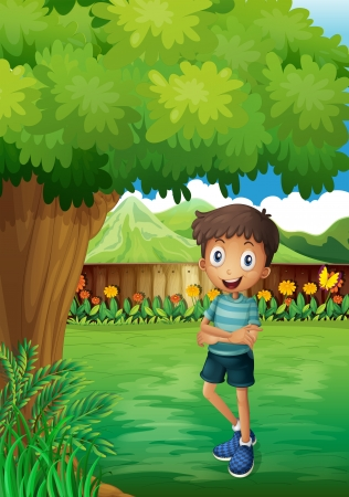 Illustration of a smiling young man near the tree inside the gated yard