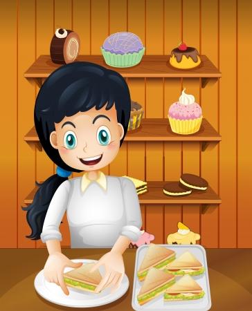 preparing: Illustration of a happy mother preparing sandwiches Illustration