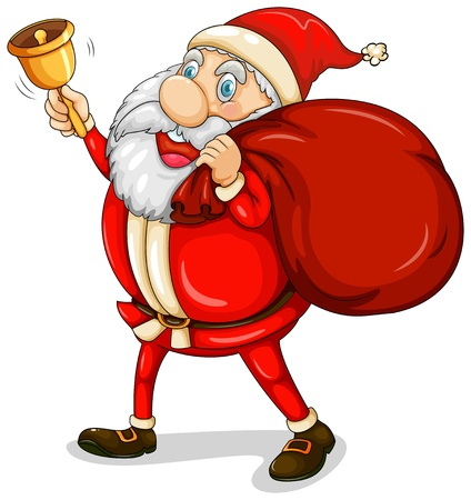 Illustration of Santa Claus with his sack full of gifts on a white background Vector