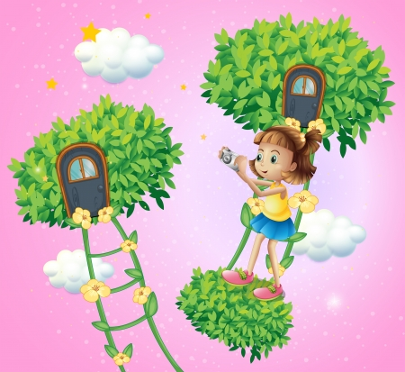 improvised: Illustration of a girl with her camera near the ladder plant
