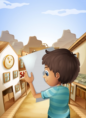 Illustration of a boy holding an empty piece of paper Vector