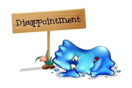 disappointed': Illustration of a disappointed monster in front of a wooden signage on a white background Illustration