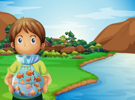Illustration of a young boy at the riverbank holding a plastic full of fishes Stock Vector - 22065449