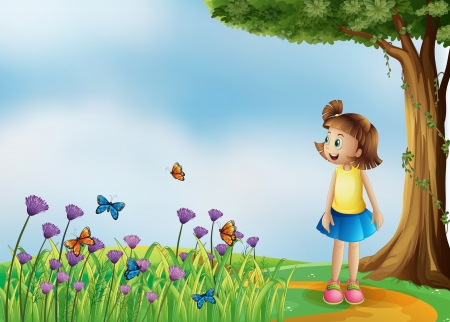 Illustration of a happy girl at the hilltop with a garden Vector