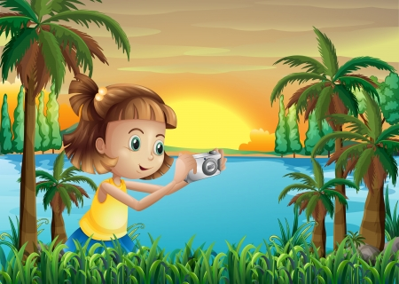 강둑: Illustration of a young photographer at the riverbank