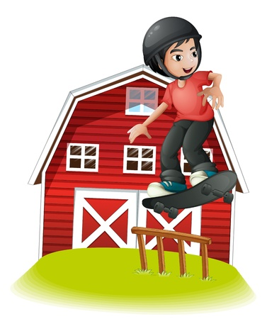 Illustration of a boy skating in front of the red barnhouse on a white background Stock Vector - 22065455