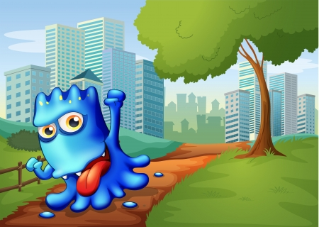 establishments: Illustration of a blue monster in the city