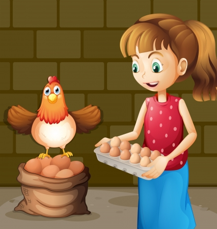 Illustration of a farmers wife collecting eggs Vector