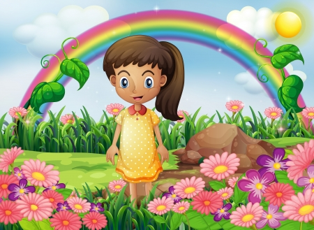 Illustration of a girl in the garden with a rainbow at the back Vector