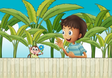 Illustration of a boy and his monkey near the fence Vector