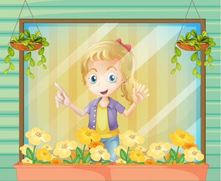 Illustration of a girl at the window Stock Vector - 22065488
