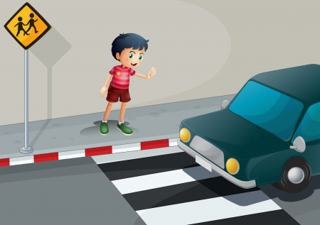 pedestrian crossing: Illustration of a boy stopping the car