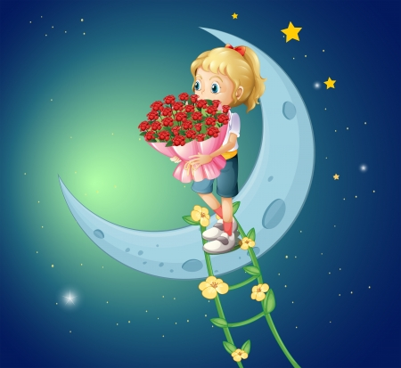 Illustration of a girl going to the moon with a bouquet of roses Vector