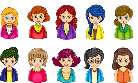 Illustration of the different faces of the businesswomen on a white background Vector