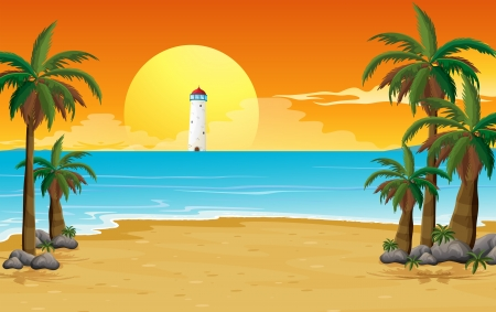 beach sunset: Illustration of a quiet beach with a lighthouse