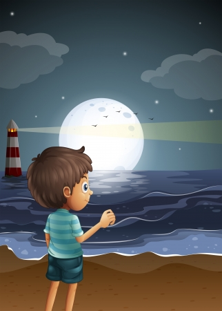Illustration of a beach with a young boy Vector