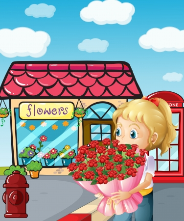 Illustration of a girl from the flowershop Vector