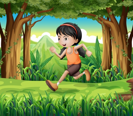 Illustration of a forest with a young girl running Vector