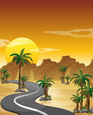 Illustration of a desert with a long and winding road Illustration