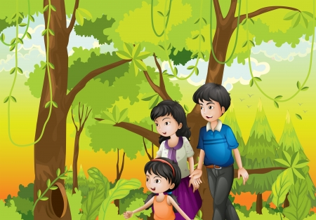 family outside: Illustration of a forest with a family Illustration
