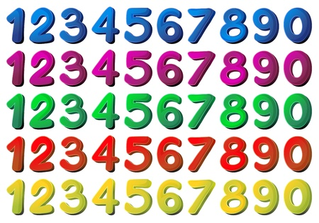 cartoon numbers: Illustration of the numbers in different colors on a white background