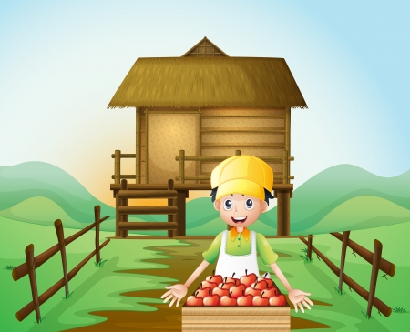 farmhouse: Illustration of a farmer harvesting apples Illustration