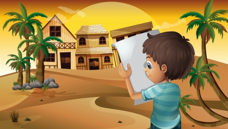 cartoon land: Illustration of a boy holding an empty paper at the desert Illustration