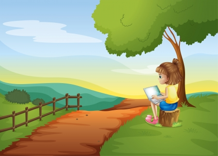 girl with laptop: Illustration of a girl sitting at the stump while using the laptop Illustration