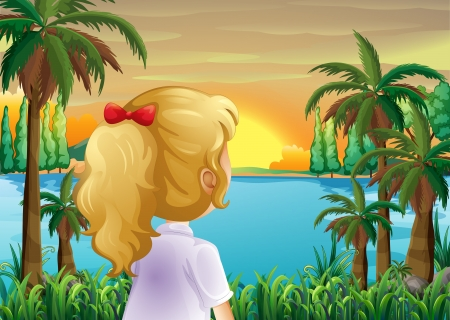 riverbank: Illustration of a girl watching the sunset at the riverbank Illustration
