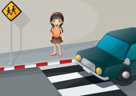 Illustratie van een meisje in de buurt van het voetgangersgebied met een auto