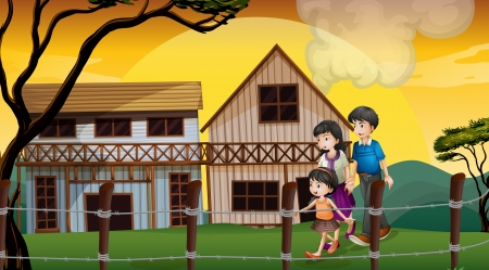 farmhouse: Illustration of a family walking in front of the wooden houses