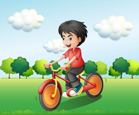 Illustration of a happy young man biking Vector