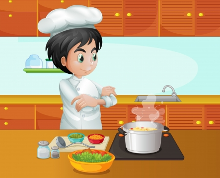 hombre cocinando: Ilustración de una cocina cocinero de sexo masculino en la cocina