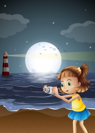 little girl beach: Illustration of a girl taking photos at the beach