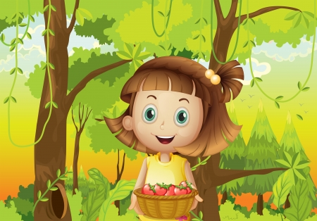 Illustration of a young girl at the forest holding a basket of strawberries Vector