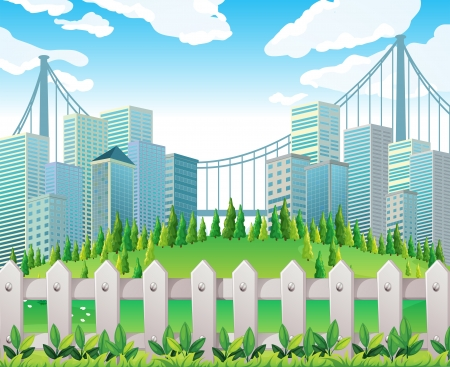 Illustration of a hill with many pine trees near the tall buildings Illustration