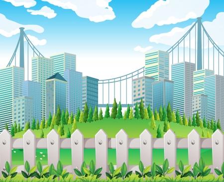 Illustration d'une colline avec de nombreux pins près des immeubles de grande hauteur Banque d'images - 22065607