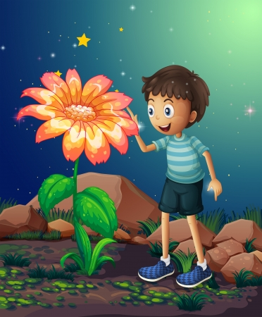 Illustration of a young boy beside the giant flower Stock Vector - 22065609