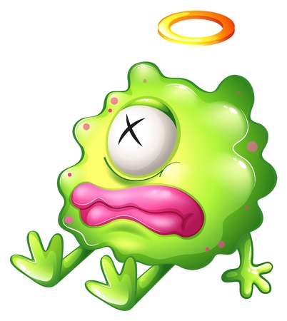 aching: Illustration of a dying green monster with pink lips on a white background